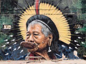 Portait du cacique Raoni sur un des murs de Darwin. Pour voir ce portrait et bien 'autres encore, venez visiter Darwin!